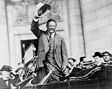 Theodore Teddy Roosevelt Gesture from Car Photo Print for Sale