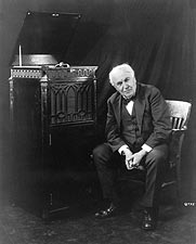 Thomas Edison Seated by Phonograph Photo Print for Sale