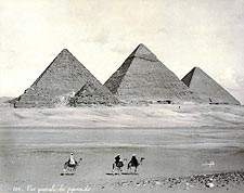 Three Pyramids & Camel Riders Egypt 1867 Photo Print for Sale