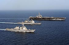 Three U.S. Navy Ships in Arabian Sea Photo Print for Sale