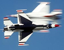 Thunderbirds F-16 Opposing Knife Edge Pass Photo Print for Sale