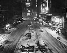 Times Square in Snow, 1930s New York City Photo Print for Sale