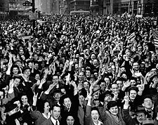 Times Square V-E Day Celebration NYC 1945 WWII Photo Print for Sale