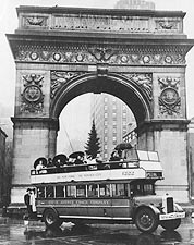 Tour Bus at Washington Square Park Arch Photo Print for Sale