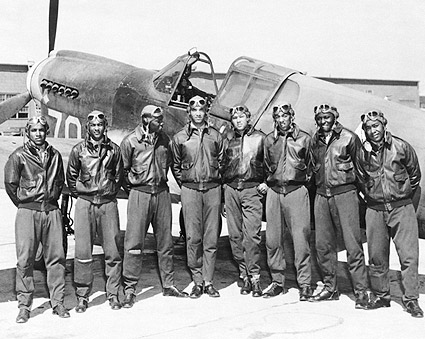 Tuskegee Airmen Posed w/ P-40 Warhawk WWII Photo Print