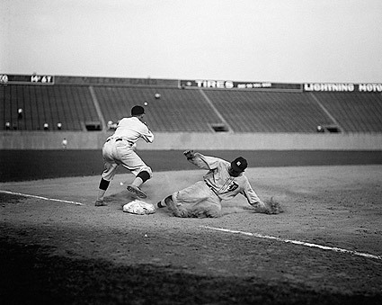 Ty Cobb of Detroit Tigers Sliding Into Third Base Photo Print