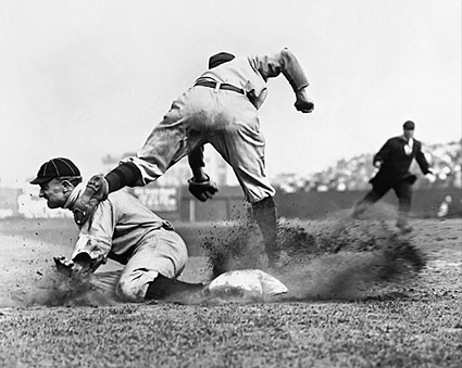 Ty Cobb Stealing Third Base for Detroit Tigers Photo Print