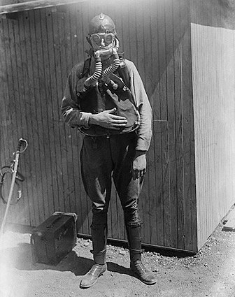 U.S. Boy Scout Wearing a Gas Mask Photo Print