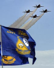 U.S. Navy Blue Angels F/A-18 Hornets in Flight Photo Print for Sale