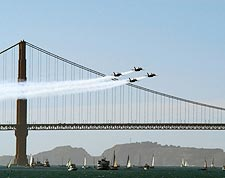 US Navy Blue Angels Golden Gate Bridge Photo Print for Sale