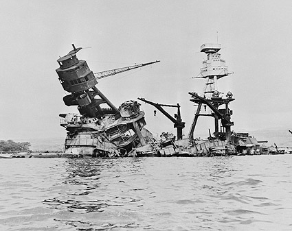 USS Arizona Sinking in Pearl Harbor WWII Photo Print