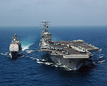 USS Dwight D. Eisenhower Fueling at Sea Photo Print