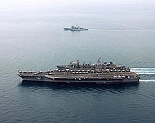 USS Dwight D. Eisenhower w/ USNS Arctic in Persian Gulf Photo Print for Sale