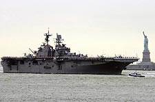 USS Iwo Jima Sailing Past Statue of Liberty Photo Print for Sale