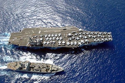 USS Ronald Reagan (CVN 76) With USNS Flint (T-AE 32) Photo Print