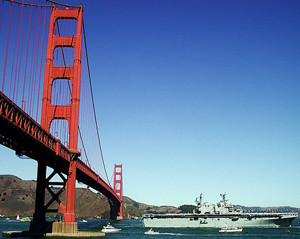 USS Tarawa LHA 1 & Golden Gate Bridge CA Photo Print