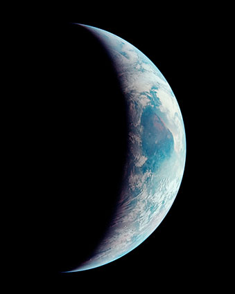 View from Apollo 11 of Crescent Earth Photo Print