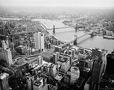 View of Brooklyn Bridge & Manhattan Bridge from WTC 1982 Photo Print for Sale