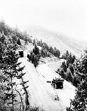 Vintage Autos Snowy Mountain Road Colorado Photo Print for Sale