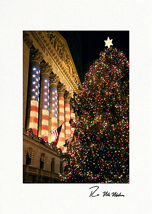 Wall Street Christmas Tree Individual Christmas Cards