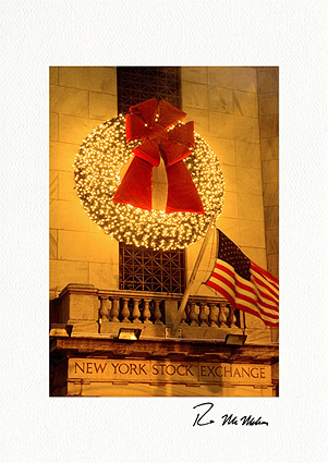 Wreath on New York Stock Exchange Boxed Christmas Cards