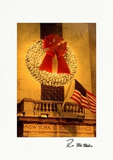 Wreath on New York Stock Exchange Personalized Christmas Cards
