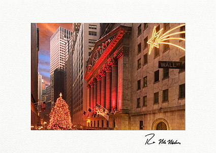 Wall Street New York Stock Exchange Tree Individual Christmas Cards