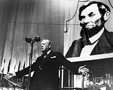 Winston Churchill & Lincoln Albert Hall Photo Print for Sale