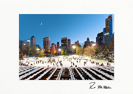 Wollman Rink Ice Skating at Night NYC Individual Christmas Cards