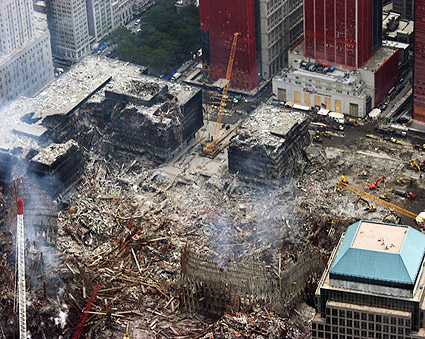 World Trade Center Destruction Aerial View 9/11 Photo Print