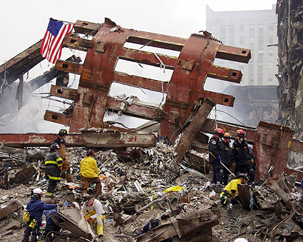 World Trade Center Steel Framework and Workers 9/11 Photo Print