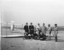 Wright Brothers w/ Reporters & Glider 1911 Photo Print for Sale