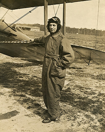 WWI Fighter Pilot with Biplane Photo Print
