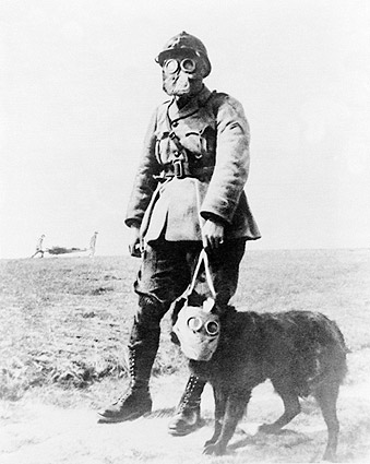 WWI French Soldier & Dog Gas Mask Photo Print