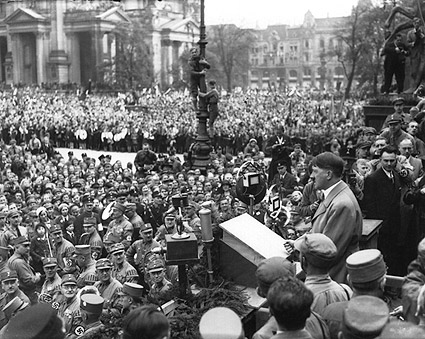 WWII Adolf Hitler Speech to Nazi Crowd Photo Print