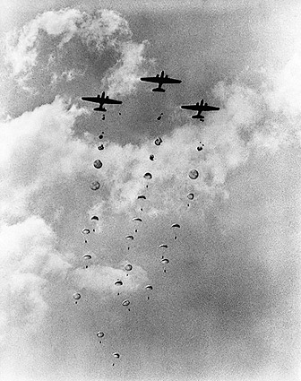 WWII Aircraft Dropping Parachutes & Men Photo Print