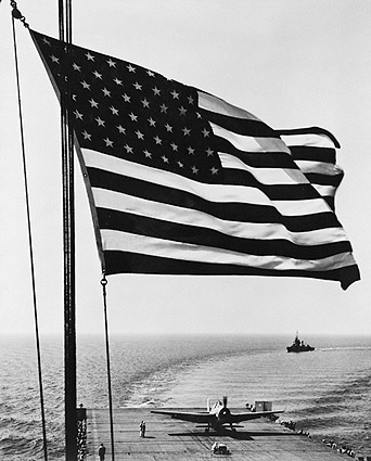 WWII Aircraft on Carrier w/ American Flag Photo Print