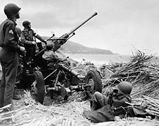 WWII American Soldiers with Anti-Aircraft Gun in Algeria Photo Print for Sale