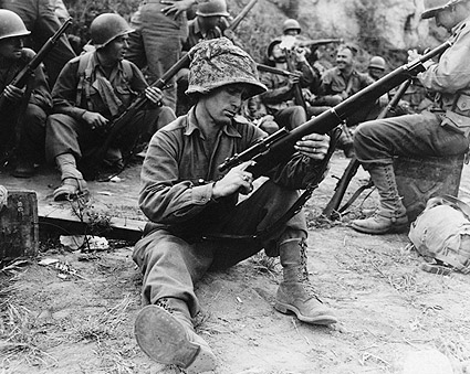 WWII American Sniper Soldier Loading Gun Photo Print