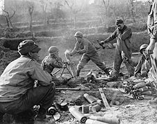 WWII American Soldiers Firing Mortar Rounds Photo Print for Sale