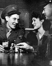 WWII Girl w/ Classic Soldiers at Sea Grill Photo Print for Sale