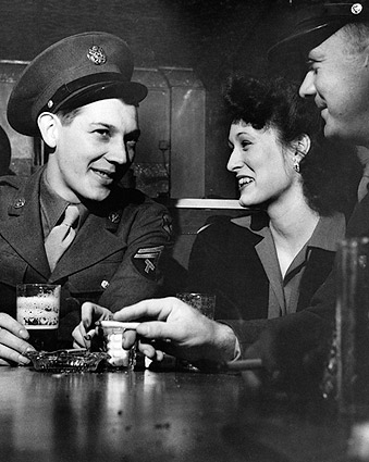 WWII Girl w/ Classic Soldiers at Sea Grill Photo Print