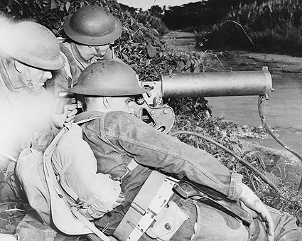 WWII Machine Gun Crew Guarding Waterway Photo Print