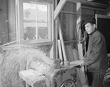 WWII Manzanar Woodworker Ansel Adams Photo Print for Sale