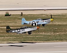 WWII P-51 Mustang Pair Take Off Photo Print for Sale