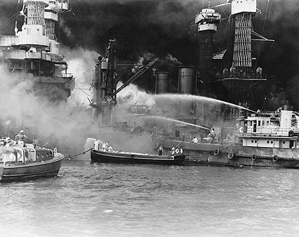 WWII Pearl Harbor USS West Virginia on Fire Photo Print