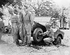 WWII American Soldiers Improvise Jeep Repair Photo Print for Sale