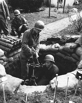 WWII U.S. Soldiers Firing 81 mm Mortar Gun Photo Print