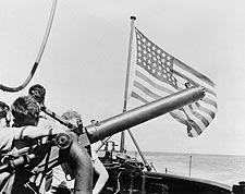 WWII US Submarine 50 Caliber Gun & Flag Photo Print for Sale