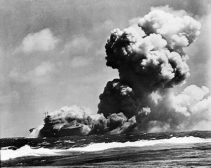 WWII USS Wasp After Torpedo Hits Photo Print